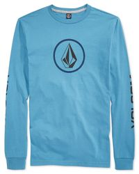 Volcom | Blue Logo Graphic Crew-neck Long Sleeve Tee for Men | Lyst