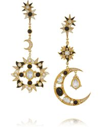 Percossi Papi - Metallic Sun And Moon Gold-Plated Multi-Stone Earrings - Lyst