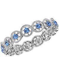 2028 - Metallic Silver-tone Blue Stone Stretch Bracelet - Lyst