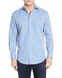 Thomas Dean | Blue Classic Fit Geo Print Sport Shirt for Men | Lyst