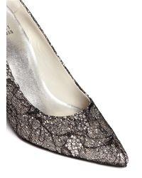 Stuart Weitzman | Black 'lace Flirt' Lace Glitter Pumps | Lyst