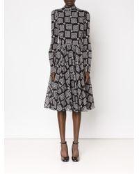 Dolce & Gabbana - Black Rose Print Squares Dress - Lyst