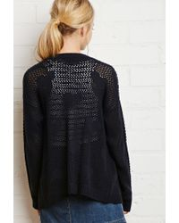 Forever 21 | Blue Loose-knit Heart Pattern Cardigan | Lyst