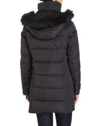 Kenneth Cole | Black Faux Fur Trim Down Puffer Coat | Lyst