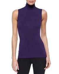 Donna Karan - Purple Sleeveless Turtleneck Jersey Top - Lyst