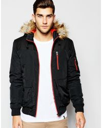 ASOS - Parka Jacket With Contrast Yoke In Black for Men - Lyst