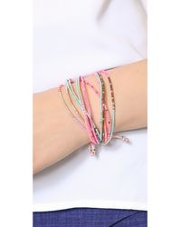 Chan Luu - Beaded Tie Bracelet Pink Mix - Lyst