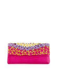 Nancy Gonzalez - Multicolor Floral-applique Crocodile Box Clutch Bag - Lyst