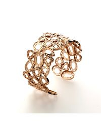 Lestie Lee | Metallic Fancy Diamond Charms Cuff Rose Gold | Lyst