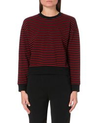 The Kooples | Red Striped Cotton-jersey Sweatshirt | Lyst