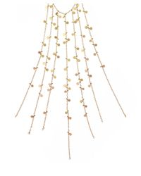 Sia Taylor | Metallic Yellow and Rose Gold Multichain Fringe Dot Necklace | Lyst