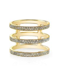 Anne Sisteron - 14kt Yellow Gold Diamond Triple Bar Ring - Lyst