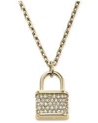 Michael Kors - Metallic Gold-Tone Padlock Charm Pendant Necklace - Lyst