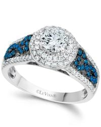 Le Vian | Blue And White Diamond Engagement Ring In 14k White Gold (1-1/3 Ct. T.w.) | Lyst