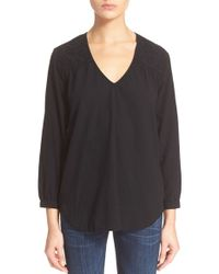 Current/Elliott | Black 'the Crochet Picnic Exclusive' V-neck Top | Lyst