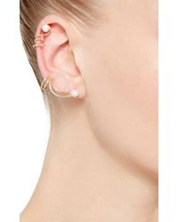 Fallon - Metallic Astro Gold And Pearl Spiral Ear Cuff Set - Lyst