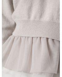 Brunello Cucinelli - Gray Tulle Hem Sweater - Lyst