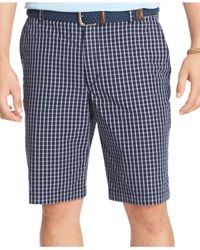 Izod | Blue Flat-front Poplin Grid Shorts for Men | Lyst