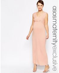 ASOS | Pink Maxi Dress With Cross Front | Lyst