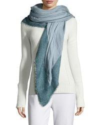 Agnona - Natural Wool/silk Contrast-border Scarf - Lyst