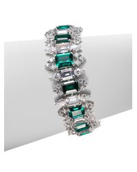 CZ by Kenneth Jay Lane - Green Emerald Cut Link Bracelet - Lyst