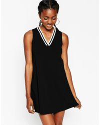 ASOS - Black Shift Dress With V Neck And Sporty Trim - Lyst