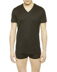 La Perla | Black V-neck T-shirt for Men | Lyst