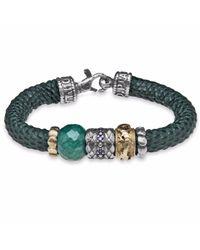 Platadepalo - Silver Jade Zircon & Green Leather Bracelet - Lyst