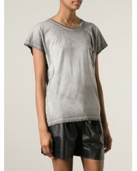 Saint Laurent | Gray Distressed T-Shirt | Lyst