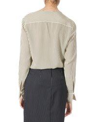 Altuzarra - Natural Pinstriped Silk Two-pocket Long-sleeve Top - Lyst
