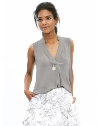 Banana Republic | Gray Notched Sleeveless Popover Blouse | Lyst