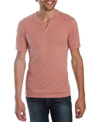 Lucky Brand | Pink Slub Knit Notched T-shirt for Men | Lyst