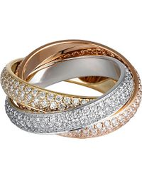 Cartier | Trinity De 18ct White, Pink And Yellow-gold Diamond Ring | Lyst