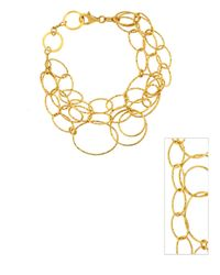 Lord & Taylor | Metallic 18kt. Yellow Gold Over Sterling Silver Three Strand Link Bracelet | Lyst