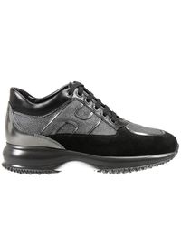 Hogan | Suede And Leather Platform Sneakers - Black | Lyst