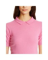 Polo Ralph Lauren | Pink Cashmere Collared Sweater | Lyst