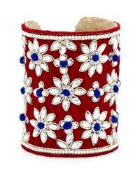 Chamak by Priya Kakkar | Multicolor Velvet Floral Crystal Cuff Bracelet | Lyst