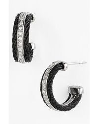 Alor - Black Diamond Hoop Earrings - Lyst
