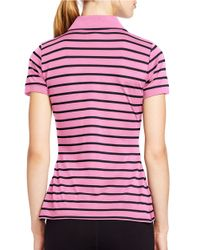 Lauren by Ralph Lauren | Pink Striped Pique Polo Shirt | Lyst