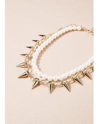 Mango - Metallic Mixed Necklace - Lyst