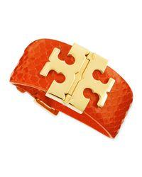 Tory Burch - Orange Wide Snake-embossed T-hinged Bracelet - Lyst