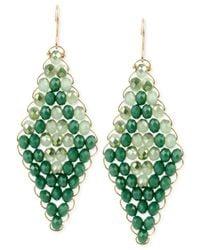Kenneth Cole - Green Woven Drop Earrings - Lyst