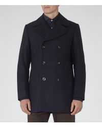 Reiss | Blue Sonnie Wool-rich Peacoat for Men | Lyst