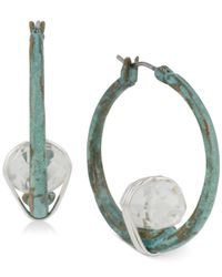 Robert Lee Morris | Metallic Silver-tone Stone Patina Hoop Earrings | Lyst