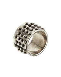 Alexander McQueen - Metallic Distressed Ring - Silver for Men - Lyst