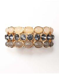 Ann Taylor - Metallic Oval Stone Stretch Bracelet - Lyst