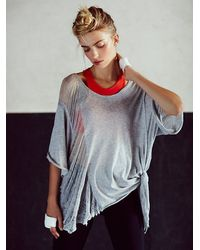 Free People | Gray Shredded Tee | Lyst