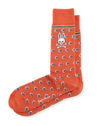 Psycho Bunny | Orange Stripes & Dots Printed Socks | Lyst