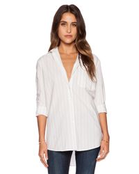 ATM - Natural Awning Stripe Bf Dress Shirt - Lyst