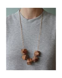 Spectrum | Brown Faceted Wood Necklace | Lyst